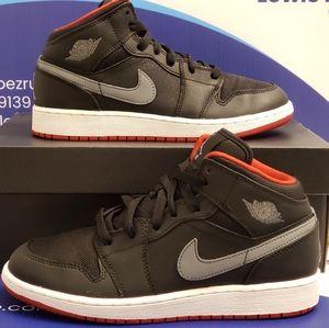Air Jordan 1 Mid Black Grey Kids Size 5.5y